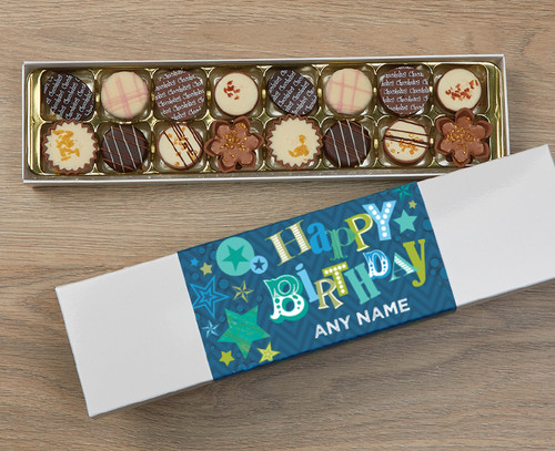 Personalised 16 Luxury Chocolates in a Box - Blue Happy Birthday