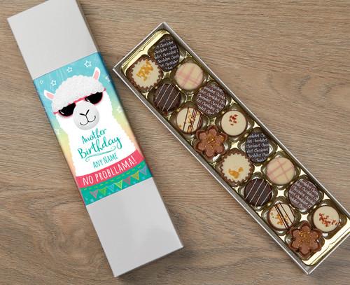 Personalised 16 Luxury Chocolates in a Box - Llama Happy Birthday