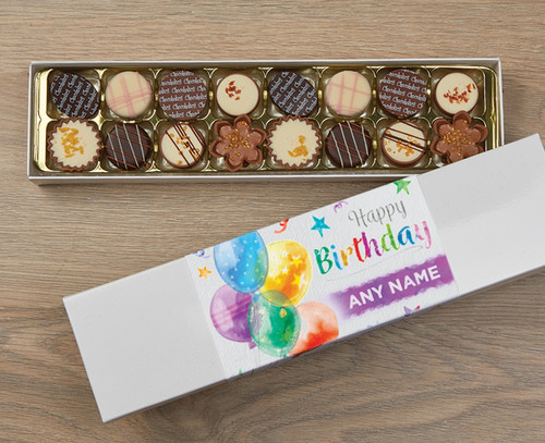 Personalised 16 Luxury Chocolates in a Box - Birthday Balloons