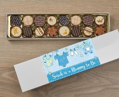 Personalised 16 Luxury Chocolates in a Box - Mummy to be blue wrapper