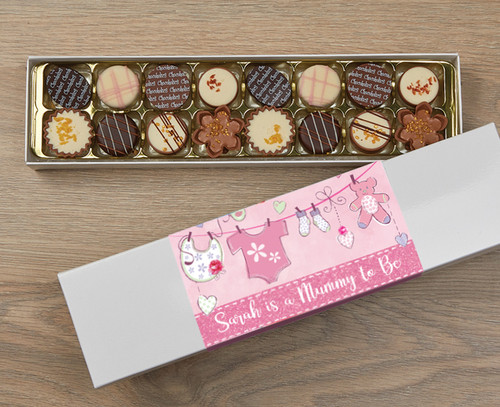 Personalised 16 Luxury Chocolates in a Box - Mummy to be pink wrapper
