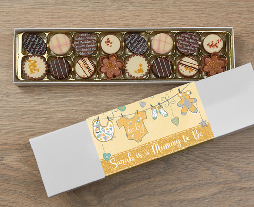 Personalised 16 Luxury Chocolates in a Box - Mummy to be yellow wrapper