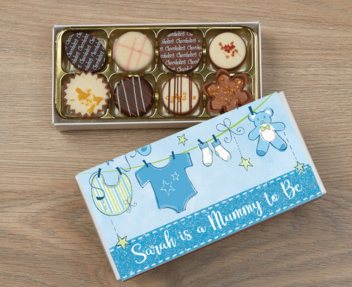 Personalised 8 Luxury Chocolates in a Box - Mummy to be blue wrapper