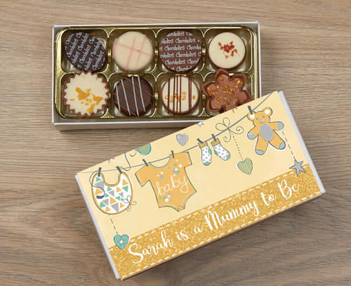 Personalised 8 Luxury Chocolates in a Box - Mummy to be yellow wrapper