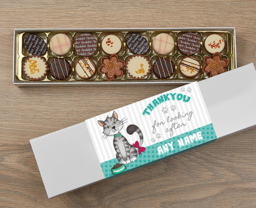 Personalised Thank You Cat 16 Luxury Chocolates in a Box