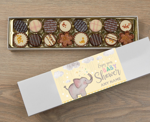 Personalised 16 Luxury Chocolate Box - Baby Shower yellow wrapper