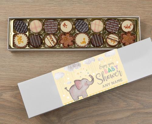 Personalised 16 Luxury Chocolate Box - Baby Shower yellow wrapper