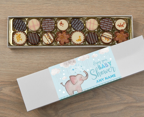 Personalised 16 Luxury Chocolate Box - Baby Shower blue wrapper