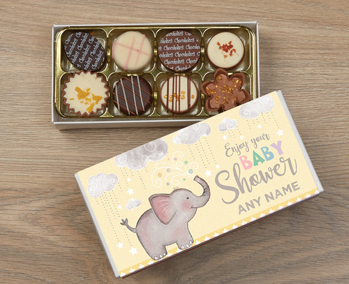 Personalised 8 Luxury Chocolate Box - Baby Shower yellow wrapper