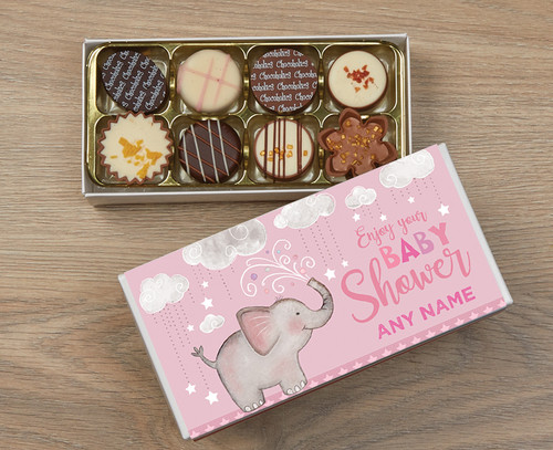 Personalised 8 Luxury Chocolate Box - Baby Shower pink wrapper