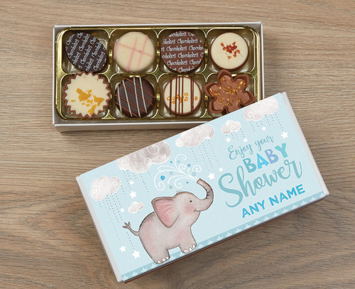 Personalised 8 Luxury Chocolate Box - Baby Shower blue wrapper