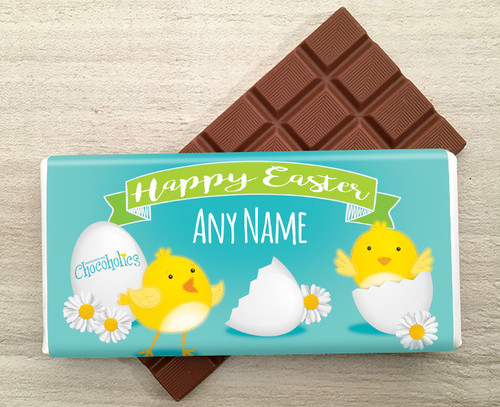 Personalised Easter Chick Design Milk Chocolate 100g Bar - 9270