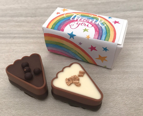 Box of Two Chocolates with a Rainbow design and a Thank You message 7888