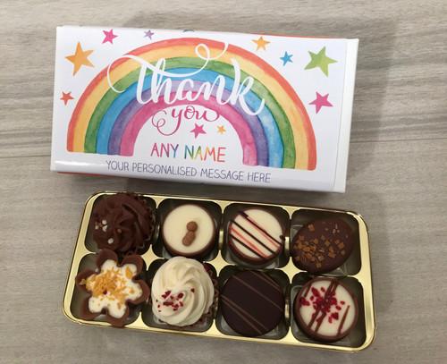 Personalised Thank You Rainbow design 8 Luxury Chocolate Box 6890