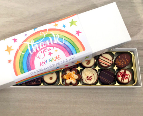chocolates to say thank you in a personalised box