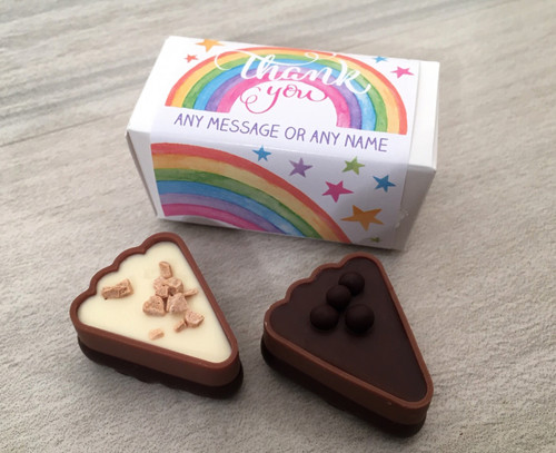 Box of Two Chocolates with a Personalised Rainbow Design Thank You message 7945