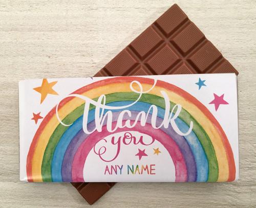 Thank You Personalised Rainbow Design 100g Milk  Chocolate Bar 7891