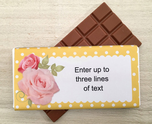Personalised chocolate bar with a pink rose design. Up to three lines of text 9145