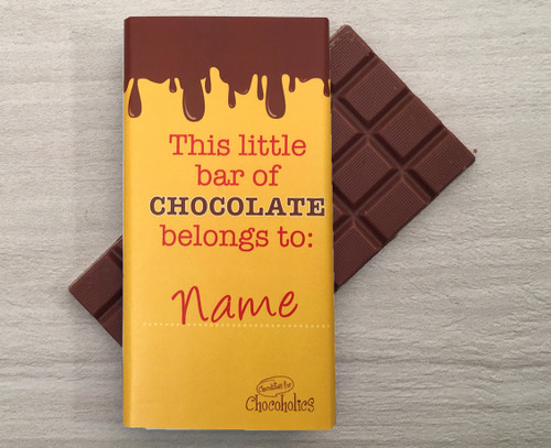 Personalised chocolate bar with dripping chocolate design on yellow wrapper 9113
