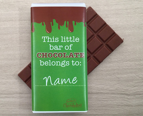 Personalised chocolate bar with dripping chocolate design a green wrapper 9112