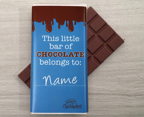 Personalised chocolate bar with dripping chocolate design on blue wrapper 9111
