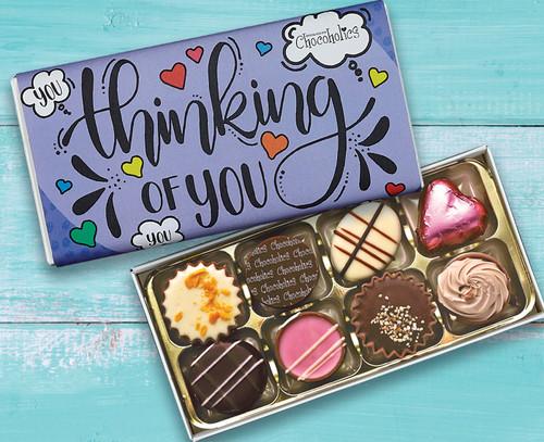 1052 Luxury Box of 8 Belgian Chocolates - Thinking of You purple wrapper