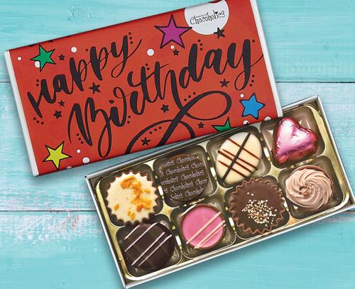 5084 Eight Luxury Chocolates Red Happy Birthday Design