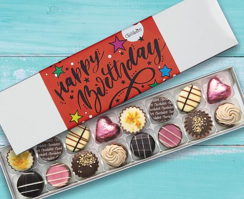 7036 Sixteen Luxury Chocolates Red Happy Birthday Design