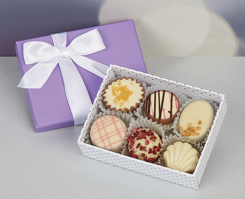 White Chocolate Assortment in Lilac Spotty Box