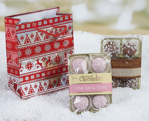 Festive Foiled Gift Bag with Prosecco and Pink Gin & Tonic Truffles