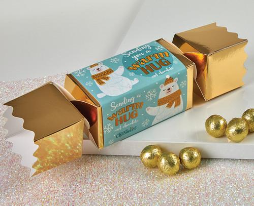 7686 Gold Polar Bear Cracker with milk chocolate balls