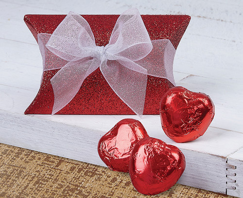 Red Glitter Pillow with Milk Chocolate Hearts