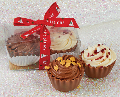 7328 Cupcake Duo with Merry Christmas Ribbon