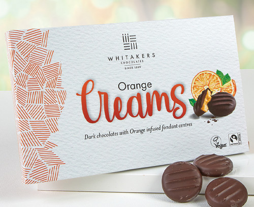 5094 Dark Chocolate Orange Cremes from Whitakers of Skipton - Suitable for Vegans