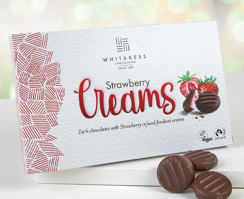 7508 Whitakers Dark Chocolate Strawberry Cremes - Suitable for Vegans