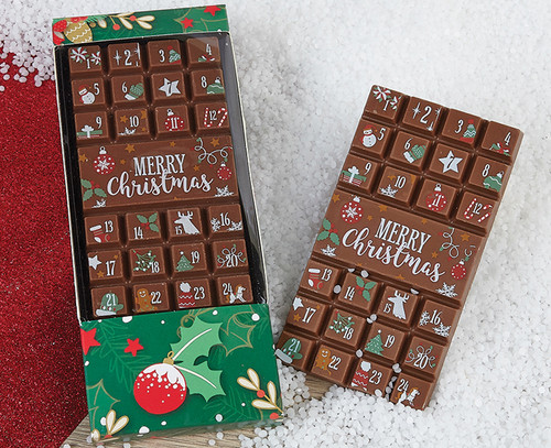 Advent Merry Christmas Box with Holly decoration