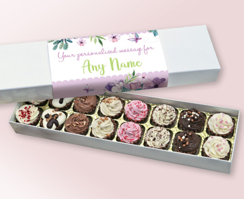 Personalised 16 Cupcake style Chocolates made from Belgian Chocolate