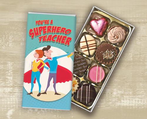 Eight Luxury Chocolate Box 'Super Hero Teacher' design - 5862