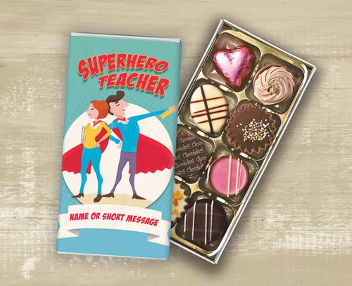 Personalised Eight Luxury Chocolate Box 'Super Hero Teacher' design - 9406