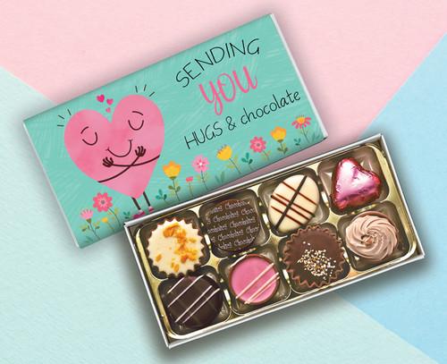 Eight Luxury Chocolate Box AQUA  'Sending You Hugs & Chocolates' design - 5851