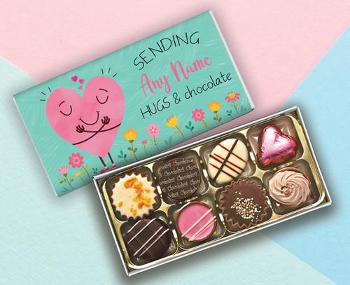 Personalised Eight Luxury Chocolate Box Sending Hugs & Chocolate - 9398