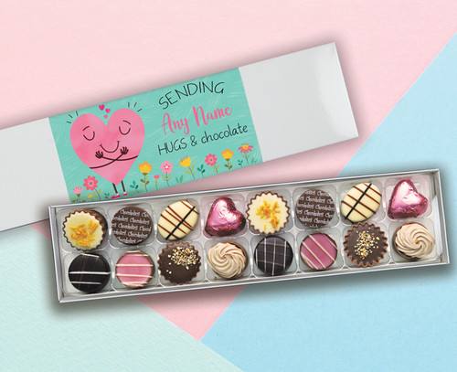 Personalised Sixteen Luxury Chocolate Box 'Sending You Hugs & Chocolates' -9413