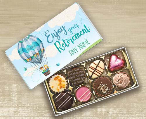Personalised Box of 8 Luxury Belgian Chocolates for Retirement
