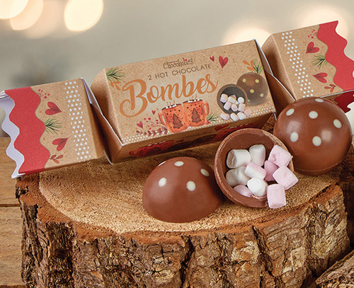 5056 Luxury Chocolate Bombe Cracker with marshmallow filled bombes