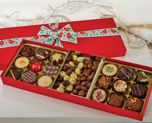 1057 Red Chocolate Tasting Box with Robin Ribbon