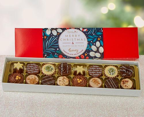 5575 Luxury Box of 16 Belgian Chocolates - Merry Christmas