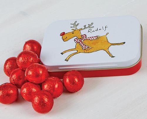 5566 Rudolf Tin with 12 Milk Chocolate Balls