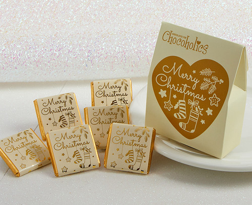 7959 Gold Heart Merry Christmas Box with orange milk chocolates