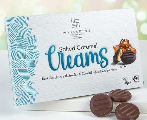 6829 Whitakers Dark Chocolate Salted Caramel Creams - Suitable for Vegans
