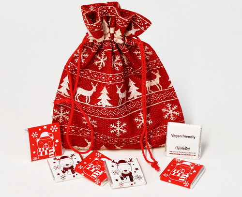 Red & White Stag design bag with Dairy Free chocolates - suitable for Vegans 8062